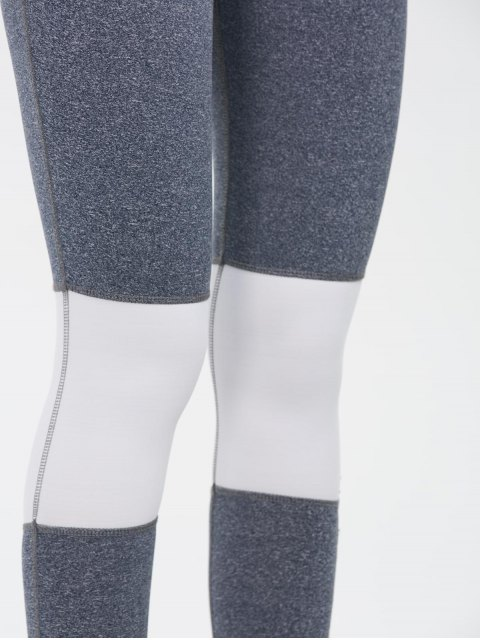 outfit Color Block Skinny Yoga Leggings - GRAY L Mobile