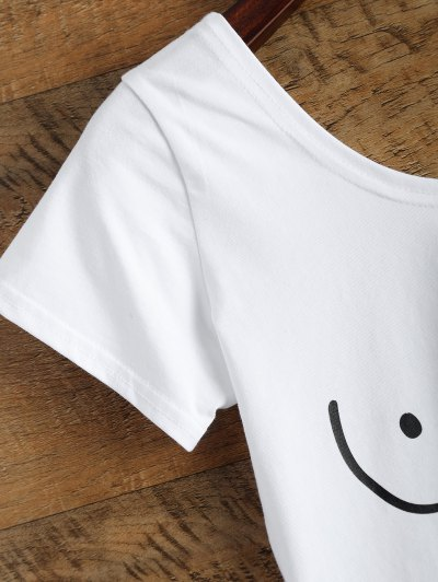 Tits Print Funny Crop Top - WHITE M Mobile