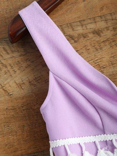 Tasseled Multiway Crop Top - PINK M Mobile