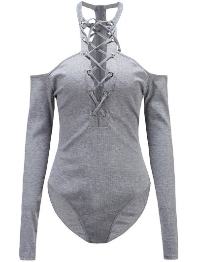 Long Sleeves Lace Up Cold Shoulder Bodysuit - GRAY S Mobile