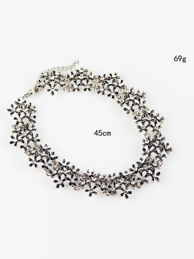 Rhinestoned Snowflake Choker Necklace - SILVER  Mobile