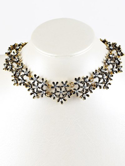 Rhinestoned Snowflake Choker Necklace - GOLDEN  Mobile