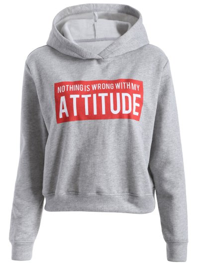 Letter Print Sports Hoodie - GRAY S Mobile