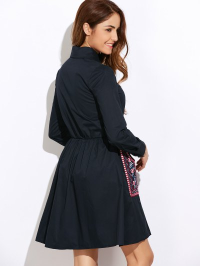 Long Sleeve Embroidered Pockets Shirt Dress - CADETBLUE L Mobile
