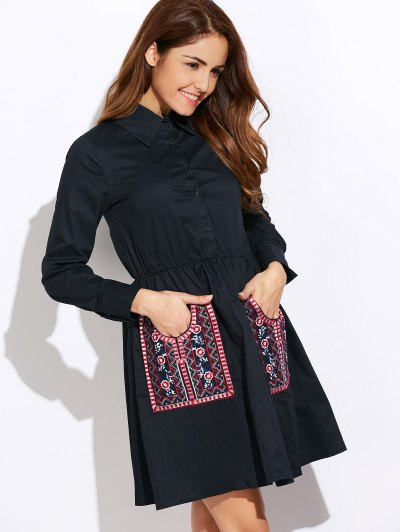 Long Sleeve Embroidered Pockets Shirt Dress - CADETBLUE S Mobile