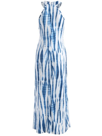 Tie Dye Maxi Halter Prom Dress - BLUE AND WHITE L Mobile
