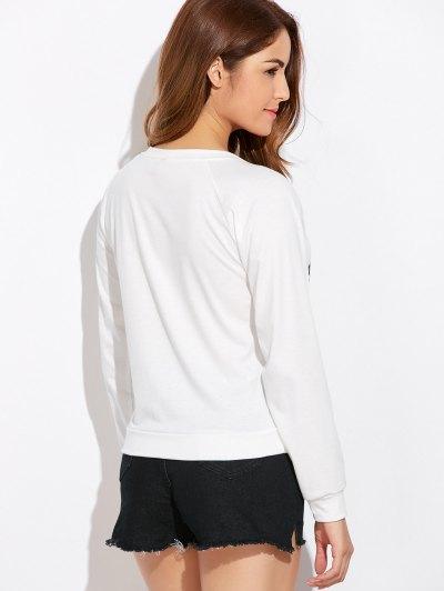Funny Print Sweatshirt - WHITE L Mobile