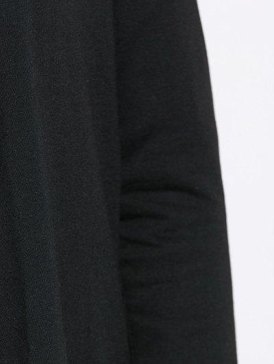 Drape Front Blouse With Elbow Patch - BLACK XL Mobile