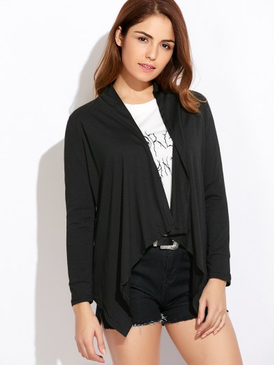 Drape Front Blouse With Elbow Patch - BLACK M Mobile