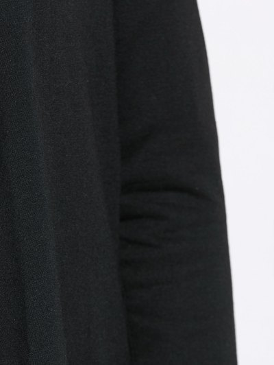 Drape Front Blouse With Elbow Patch - BLACK S Mobile