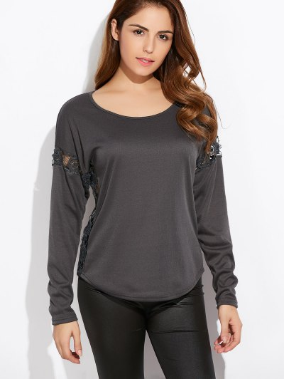 Scoop Neck Lace Trim Tee - GREEN M Mobile