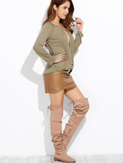 Plunging Neck Long Sleeve Crossover Top - ARMY GREEN XL Mobile