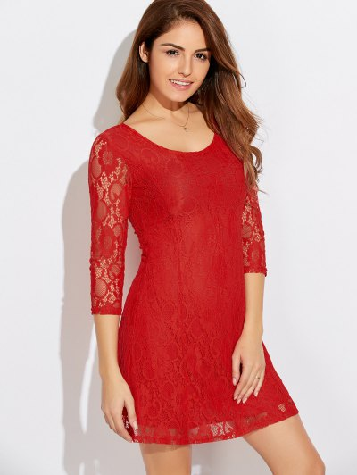 Short Lace Dress With Sleeves - JACINTH 2XL Mobile