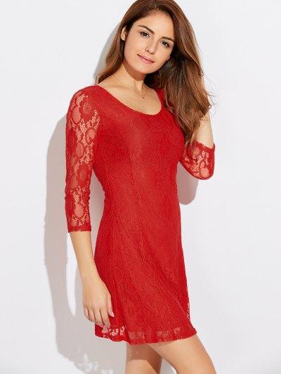 Three Quarter Sleeve Flared Lace Dress - JACINTH M Mobile