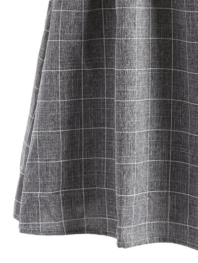 Checked Off The Shoulder Ruffles Dress - GRAY L Mobile