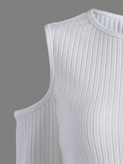 Cold Shoulder T Shirt - WHITE L Mobile