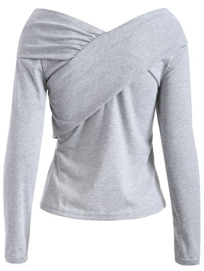 V Neck Surplice T Shirt - GRAY L Mobile