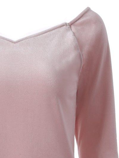 V Neck Slimming T-Shirt - PINK L Mobile