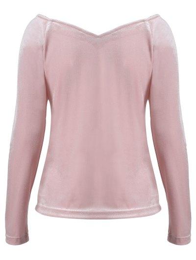 V Neck Slimming T-Shirt - PINK M Mobile