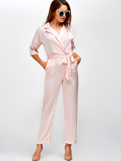 Plunging Neck Wrap Jumpsuit - SHALLOW PINK L Mobile
