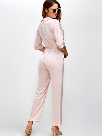 Plunging Neck Wrap Jumpsuit - SHALLOW PINK M Mobile