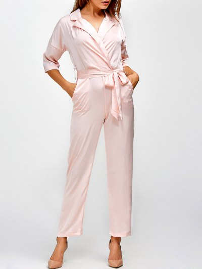 Plunging Neck Wrap Jumpsuit - SHALLOW PINK S Mobile