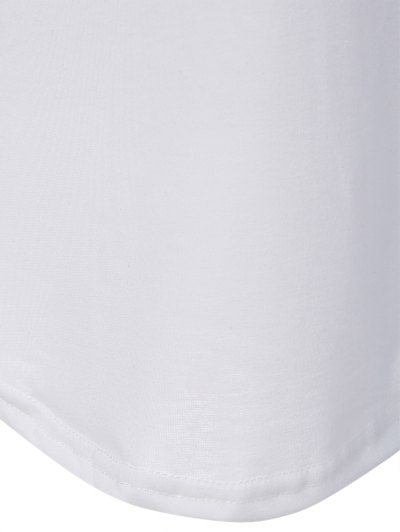 Color Block Happy T Shirt - WHITE 3XL Mobile
