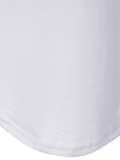 Color Block Happy T Shirt - WHITE 2XL Mobile