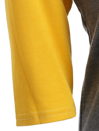 Color Block Happy T Shirt - YELLOW + GRAY XL Mobile