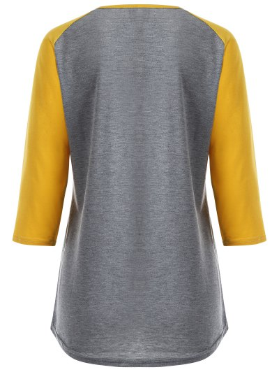 Color Block Happy T Shirt - YELLOW + GRAY L Mobile