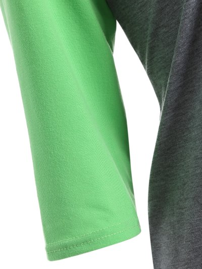 Color Block Happy T Shirt - GREY + FLUORESCENT GREEN L Mobile