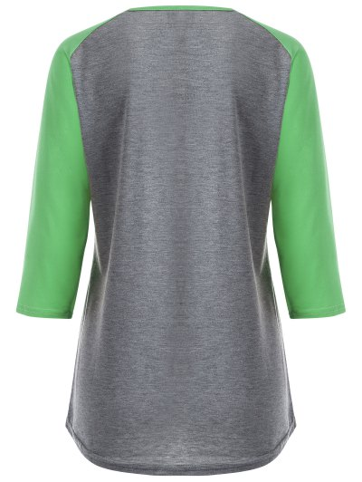 Color Block Happy T Shirt - GREY + FLUORESCENT GREEN M Mobile