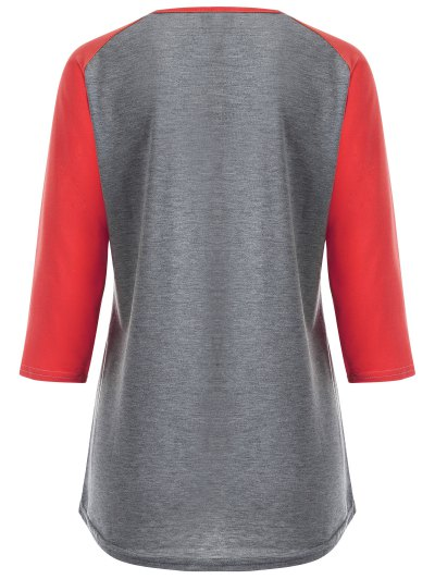 Color Block Happy T Shirt - GRAY AND RED 3XL Mobile