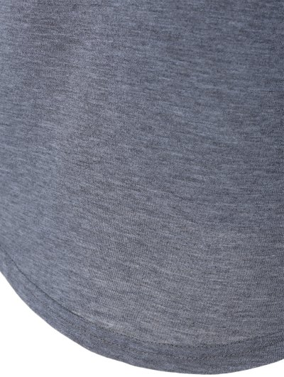 Color Block Happy T Shirt - BLUE+GRAY 3XL Mobile