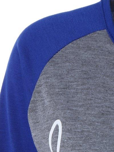 Color Block Happy T Shirt - BLUE+GRAY L Mobile