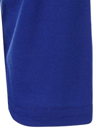 Color Block Happy T Shirt - BLUE+GRAY M Mobile