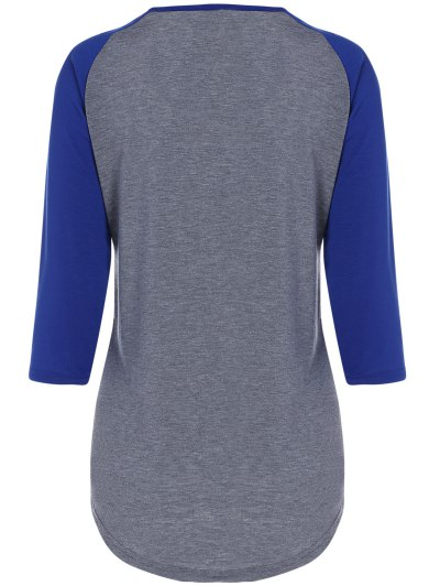 Color Block Happy T Shirt - BLUE+GRAY S Mobile