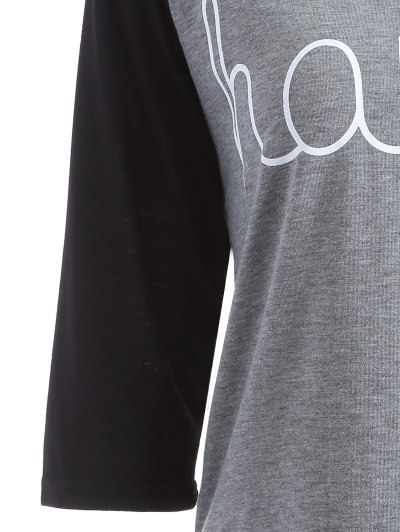 Color Block Happy T Shirt - BLACK AND GREY L Mobile
