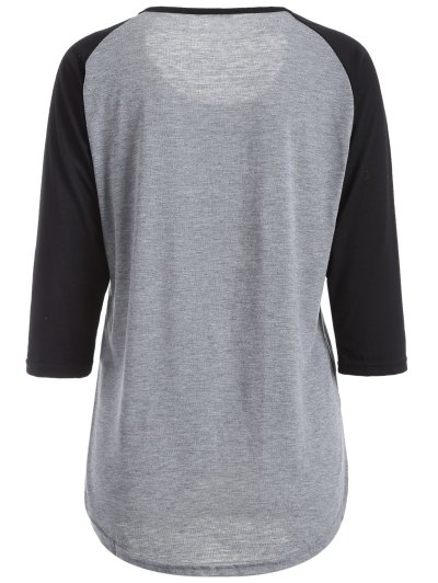 Color Block Happy T Shirt - BLACK AND GREY M Mobile