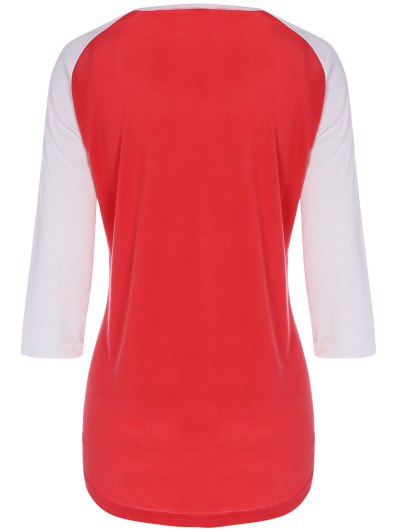 Color Block Happy T Shirt - RED M Mobile