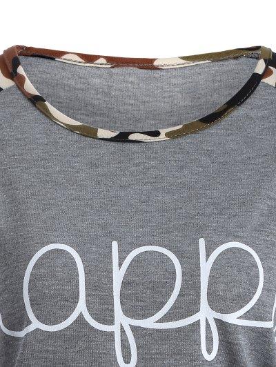 Camo Print Happy Graphic T-Shirt - GRAY 3XL Mobile