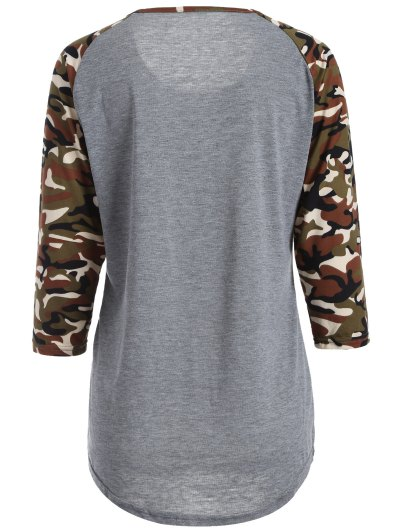 Camo Print Happy Graphic T-Shirt - GRAY M Mobile