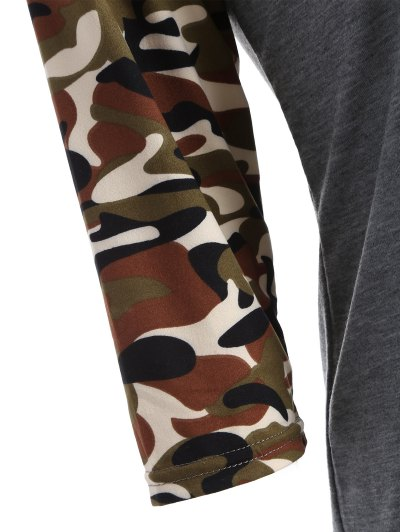 Camo Print Happy Graphic T-Shirt - GRAY S Mobile