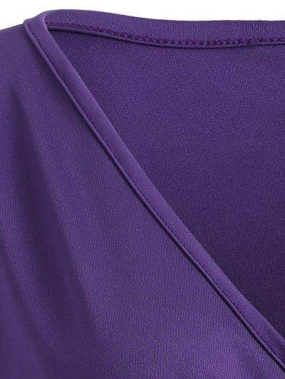 Buttons Runched Surplice T-Shirt - PURPLE S Mobile
