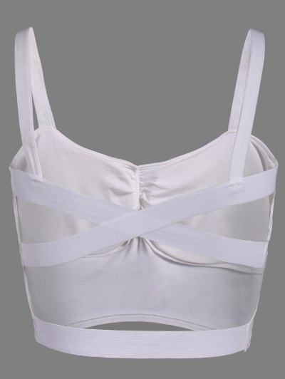Back Crossed Bandage Cami Top - WHITE ONE SIZE Mobile