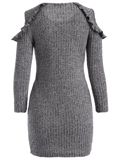 Cold Shoulder Bodycon Sweater Dress - GRAY L Mobile