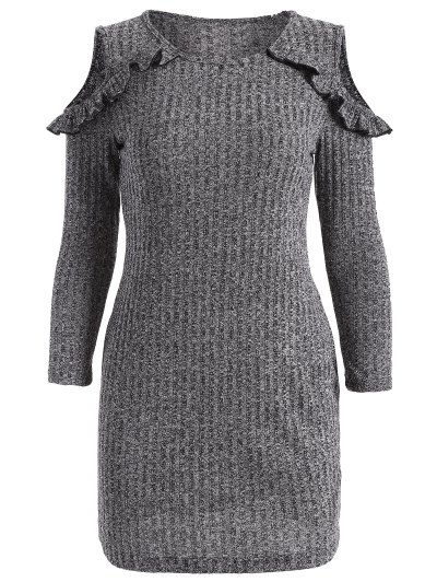 Cold Shoulder Bodycon Sweater Dress - GRAY S Mobile