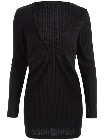 Long Sleeve Bodycon Plunge Dress - BLACK 2XL Mobile