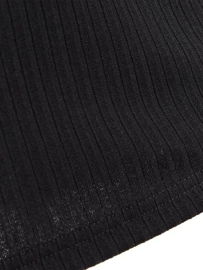 Long Sleeve Bodycon Plunge Dress - BLACK L Mobile