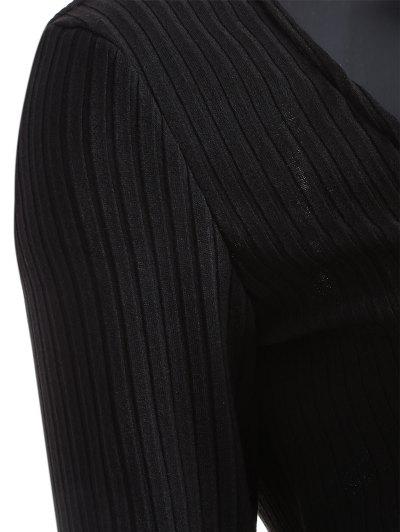 Long Sleeve Bodycon Plunge Dress - BLACK M Mobile